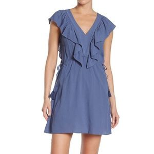 1.State V-Neck Ruffle Edge Sleeveless Mini Dress